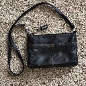 Tignanello Black Leather Crossover Purse